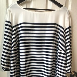 NWT LOFT Plus Striped Elbow Sleeve Blouse
